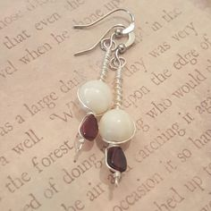 Garnet and Mother of Pearl Pure Silver wire wrapped earrings, perfect Valentine's Day accessory, hand made jewelry