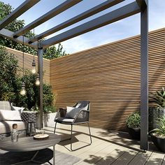 Enhance the contemporary aesthetic of your property with our range of composite slatted cladding, ideal for both commercial and domestic applications. Back Garden Design, Modern Garden Design, Modern Design, Big Garden, Herb Garden, Pergola Design, Patio Design, Backyard Patio, Backyard Landscaping