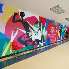 Wall graphic for Boys & Girls Club of Venice (Blik) Office Mural, Office Art, Environmental Graphic Design, Environmental Graphics, Booth Design, Wall Design, Hoarding Design, Interactive Walls, Wall Murals