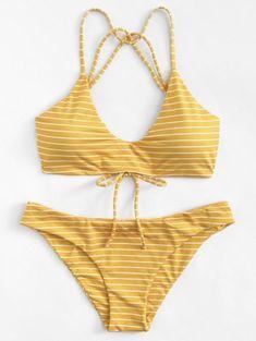 Striped Strappy Bikini Set - Bra and Bikinis Summer Bathing Suits, Cute Bathing Suits, Summer Suits, Yellow Bathing Suit, Bathing Suits For Teens, Cute Swimsuits, Cute Bikinis, Trendy Bikinis, Bikinis Lindos