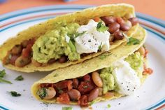 Bean tacos! The perfect meat free snack!