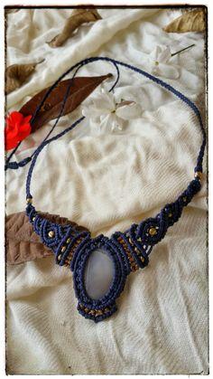 blue and beige necklace, macrame necklace, agate stone, tribal necklace, gypsy stile, macrame handmade, macrame jewelry, brass beads by NarkisMacrame on Etsy