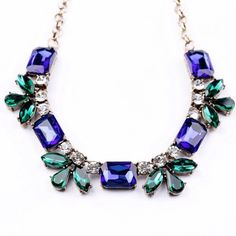 Host Pick--Blue bib necklace Blue bib necklace  Length 44x6 cm Material : zinc alloy,resin,glass  Brand new !!!!!!! Jewelry Necklaces