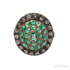 Renaissance Revival Emerald and Diamond Ring, set with step- and circular-cut emeralds and table-cut diamonds, silver-topped gold mount, size 4 3/4.  Sale Number 2993B, Lot Number 117   Skinner Auctioneers