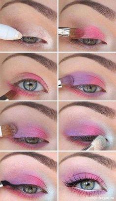 Lila und rosa Augen-Make-up Makeup - makeup products - makeup tutorial - makeup tips - Source makeup Pink Eye Makeup, Eye Makeup Art, Cute Makeup, Pretty Makeup, Eyeshadow Makeup, Bright Makeup, Pink Eyeshadow, Highlighter Makeup, Unicorn Eyeshadow