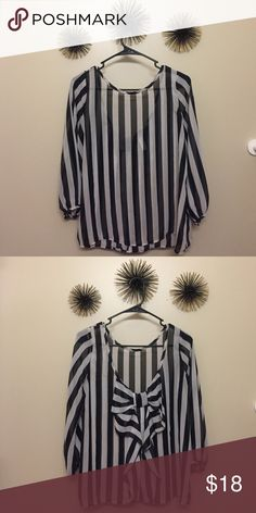 Shirt Totally adorable sheer, black and white top with an accent bow on the back 🎀! Tops Blouses