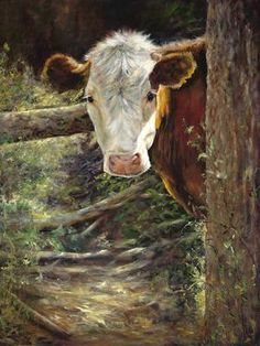 - oil painting by Maureen Flinn, Canada Cow Pictures, Pictures To Paint, Cow Painting, Farm Art, Cow Art, Country Art, Country Music, Tier Fotos, Animal Paintings