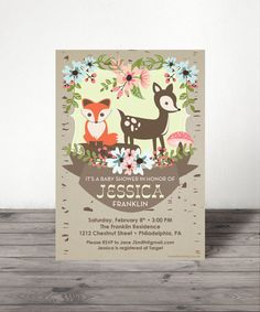 Woodland Baby Shower Invite Baby Shower by CreativeUnionDesign