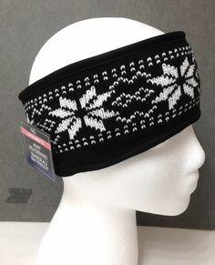 b8f89d72258 womens SNOWFLAKE PATTERN HEADBAND EAR WARMER Black White Winter Beanie Knit  Hat  Unbranded Headband Pattern