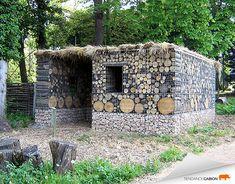 gabion abris de jardin en gabion avec remplissage de bois et