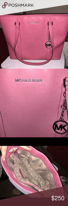 Authentic Michael Kors purse Raspberry Pink large purse! Soo cute and definitely one of my favorites. Perfect condition. Comes with storage bag! Michael Kors Bags Totes