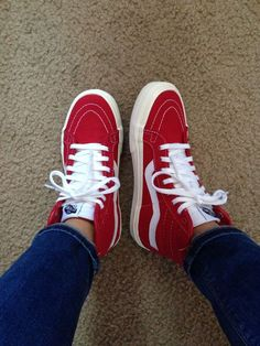 6f669f9aa04 Really want some Vans Hi red sneakers!