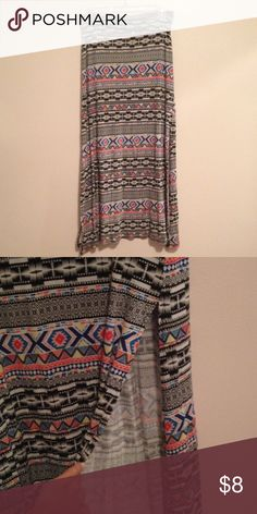 Charlotte Ruuse tribal maxiskirt size Medium Gently worn. Super comfy! Splits on both size. Stretchy material. Charlotte Russe Skirts Maxi