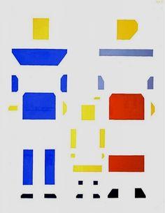 Bart van der Leck (1876-1958) was een Nederlands kunstschilder en vormgever. In Nederland was er in de jaren van de Eerste Wereldoorlog een groepje kunstenaars bezig met (geometrische) abstracte, waaronder Piet Mondriaan en Theo van Doesburg. Deze waren daarom erg geïnteresseerd in het werk van Van der Leck.  Voorjaar 1918 verliet Van der Leck de groep echter vanwege een artistiek meningsverschil met Van Doesburg en Mondriaan over het gebruik van vlakken en (diagonale) lijnen.