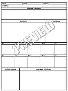 Detailed Unit Lesson Plan Template  Elementary  Lesson Plan