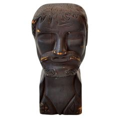 Hand Carved Wooden Head Figure | From a unique collection of antique and modern sculptures at http://www.1stdibs.com/furniture/more-furniture-collectibles/sculptures/