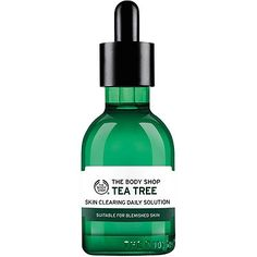Details+ The Body Shop Tea Tree Anti-Imperfection Daily Solution is a lightweight, pre-serum concentrate that combats blemishes and improves the overall condition of skin. After 4 weeks, skin looks and feels purified, clearer, smoother, healthier, clarified, mattified and soothed with reduced redness and imperfections.