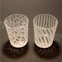 Animal Print:  Zebra and Leopard Set of Two Etched Glass Votive Candle Holders - Fetching Etching Etched Glassware on Etsy