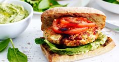 For a quick and easy weeknight meal try these flavoursome chicken and avocado pesto burgers.