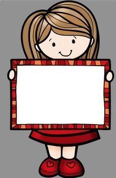 Kids Holding Signs Clip Art by Whimsy Workshop Teaching | Teachers Pay Teachers