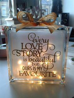 Glass block for wedding gift
