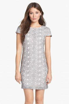 Ivy & Blu Metallic Lace Shift Dress