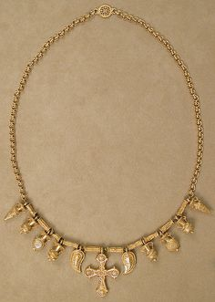 Gold Necklace with Ornaments;    6th century, Byzantine;    Dimensions: Overall: 36 x 7 x 1-3/8 in.