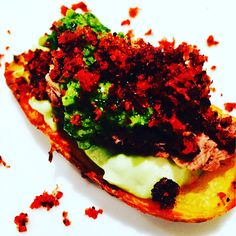 Crispy Potato Skins with Rare Beef, Chimichurri & Chorizo Dust