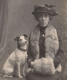 1914 Dog & Miss Gulch Draped in Fur RPPC~Jack Russell Terrier~Vintage Real Photo