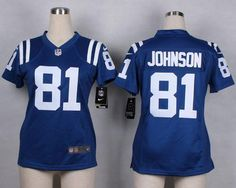 "$23.88 at ""MaryJersey""(maryjerseyelway@gmail.com) Nike Colts 81 Andre Johnson Royal Blue Team Color Women Stitched NFL Elite Jersey"