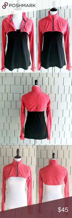 Puma Red Orange Cropped Bolero Zip Up Size Medium Puma Red Orange Cropped Bolero Zip Up Size Medium is so cute and perfect for the crisp spring mornings or the cool temped gym before your get your sweat on.  Has thumb holes and the hand flip over fabric that makes the sleeves like mittens.  This is ready for you and your workout wardrobe.  See pictures for measurements. Puma Jackets & Coats
