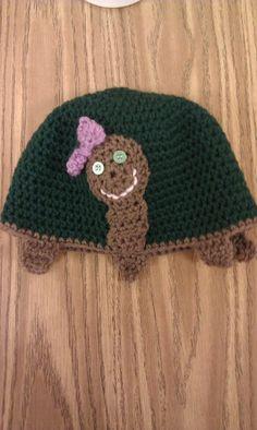 Crochet turtle hat by HammondsHandcrafts on Etsy, $18.00