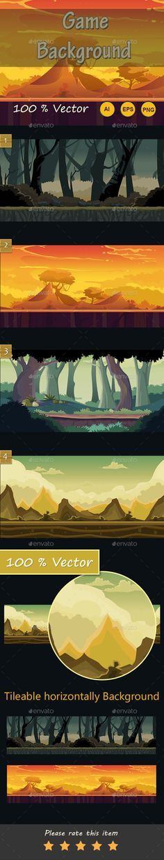 Game Background — Vector EPS #hill background #bg • Available here → https://graphicriver.net/item/game-background/16844481?ref=pxcr