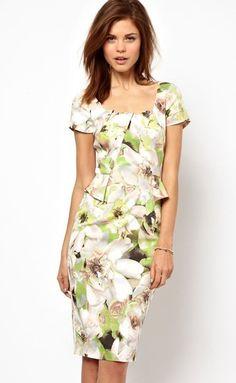 NewWT Karen Millen Floral Print Fitted Peplum Shift Dress UK 10 RARE   eBay