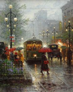 Gerald Harvey Jones, better known as G. Harvey, was born in San Antonio, Texas in Rain Painting, City Painting, Umbrella Art, Rain Photography, Portrait Pictures, Paintings I Love, Western Art, Amazing Art, Watercolor Art