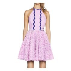 SheIn(sheinside) Purple Halter Applique Flare Dress ($25) ❤ liked on Polyvore featuring dresses, purple, flare dress, pink dress, short flare dress, pink halter top and purple halter dress