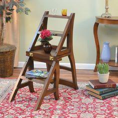 Chestnut Wood Folding Library Chair Carolina Cottage Folding Library Ladder Chair in Library Chair, Library Ladder, Ladder Bookcase, Ladder Chair, Ladder Decor, Saarinen Chair, Diy Furniture, Furniture Design, Garden Furniture
