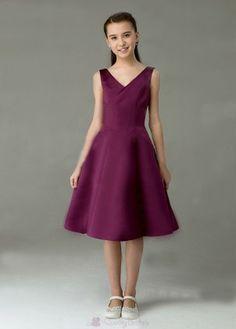 A-line V-neck Knee-length Sleeveless Satin Junior Bridesmaid Dress