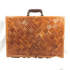 Vintage Bamboo Wood Wooden Combination Briefcase Parquetry Brown Vinyl Brass   eBay