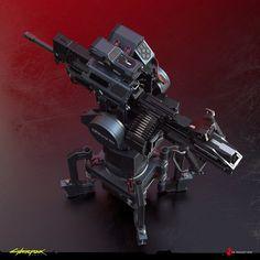 ArtStation - Gun Turret - Cyberpunk 2077, Filippo Ubertino Sci Fi Weapons, Weapons Guns, Combat Robot, Gun Turret, Hero Poster, Future Weapons, Gun Art, The Great White, Army Vehicles