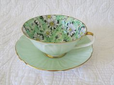 SALE Shelley Oleander Teacup and Saucer Green Daisy by FineRomance, $92.00