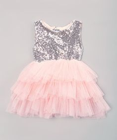 Just Couture Pink & Silver A-Line Dress - Infant, Toddler & Girls | zulily