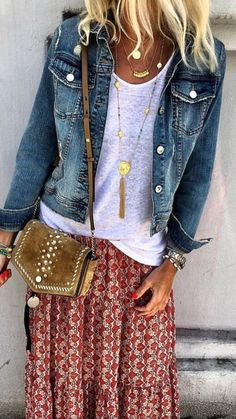 Boho   love top, jacket and jewelry but skirt is too flouncy