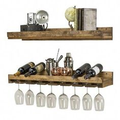 del Hutson Designs Floating Wine Shelf and Glass Rack Set (Wall Mounted) Hanging Wine Glass Rack, Wine Glass Shelf, Glass Shelves In Bathroom, Wine Glass Holder, Wine Bottle Rack, Bottle Wall, Wine Racks, Tabletop, Wine Decor