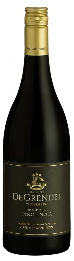 "De Grendel Op Die Berg Pinot Noir via winemaker: ""The Pinot Noir exudes red cherries, blackberries and roasted nuts, with a velvet finish on palate. Best enjoyed with chicken, wild mushrooms, venison and slow-cooked meat dishes."""