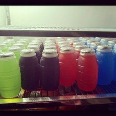Barrel drinks and you knew the blue was always the best and the orange was never drunken