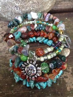 Earth Goddess: five wrap memory wire beaded bracelet with metal stamped charm