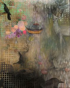 Wake up Deer. oil, acrylic, spray paint, pencil, collage on wood