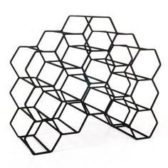 Pico 15 Stackable Wine Rack - Black - geometric hexagon wine rack