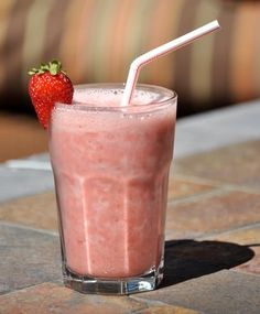 Strawberry Julius  (8-oz   strawberries 3/4 cup water  1 large egg white 1 tsp vanilla extract  1/4 cup sugar  2 cups ice)